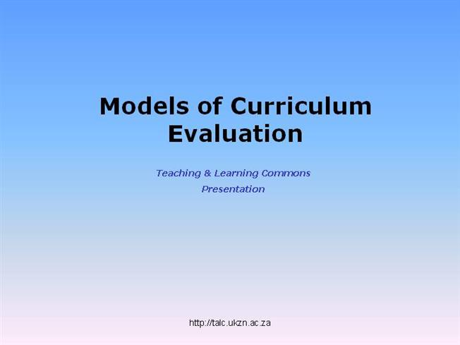 tylers model of curriculum evaluation