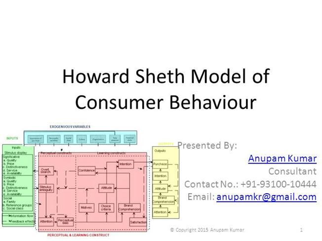 howard sheth model consumer behaviour Consumer behavior models by howard-sheth model this concept became popular because it focused on the importance of inputs to the consumer buying process and.