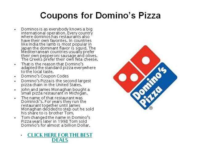 comparison of marketing strategies of dominos pizza Dominos entering europe market and the company vision is to become number one pizza company in australasia and europe in the next 5 years in order to fulfil their vision, dominos needs to prepare a strategic plan considering following factors that determines the.