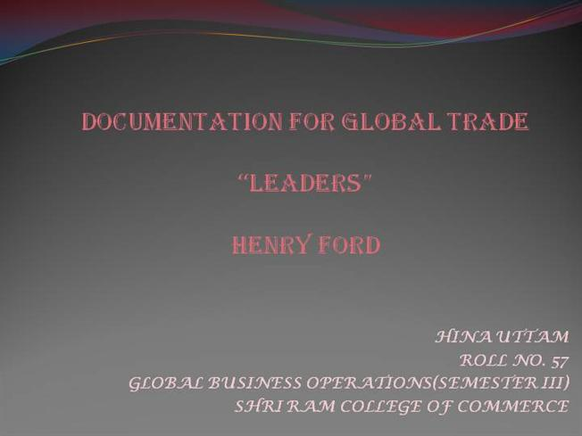 Henry ford as a leader authorstream for Ford motor company powerpoint template
