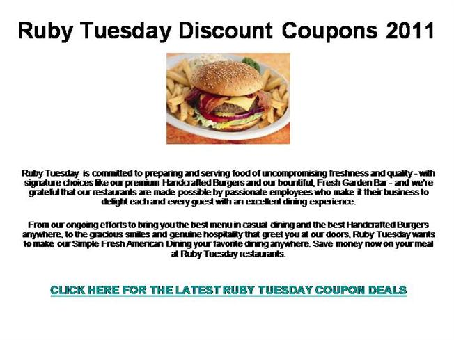 Ruby tuesday mobile coupons