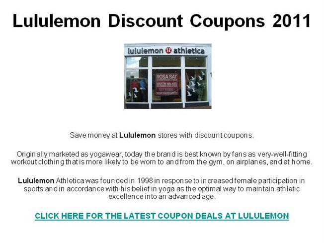 lululemon discount coupons 2011 authorstream. Black Bedroom Furniture Sets. Home Design Ideas