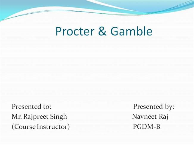 presentation about procter and gamble The procter & gamble company (p&g) is an american multi-national consumer goods corporation headquartered in downtown cincinnati, ohio, founded in 1837 by british american william procter and irish american james gamble it primarily specializes in a wide range of cleaning agents and personal care and hygienics products.