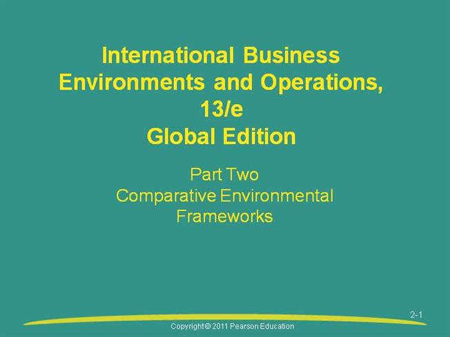internation business environment and operations daniels 11 edition