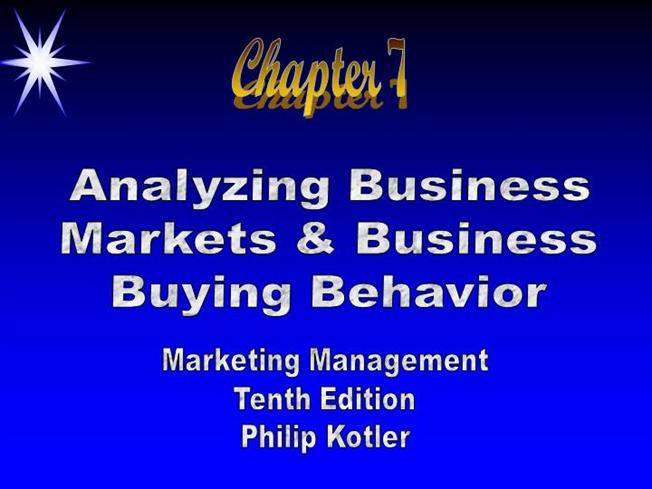 business markets and business buyer behavior pdf