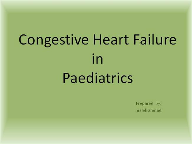 congestive heart failure in pediatrics essay