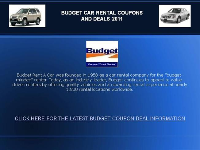 Budget car rental coupon code december 2018