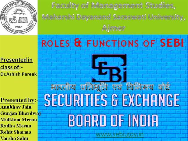 role of sebi in stock market Role and functions of sebi  and to regulate the securities market and for matters connected therewith or  the role and functions of a stock exchange.