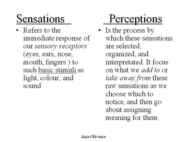 sensory reception stimulus and response