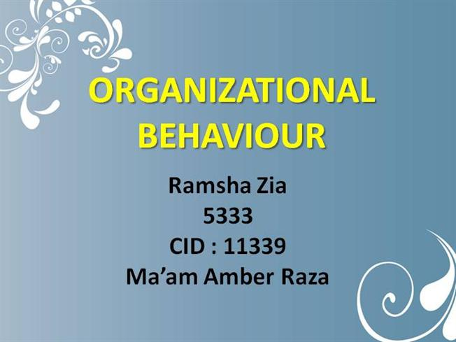 Organisational behaviour study material