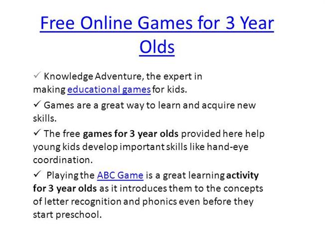 for olds three year games online