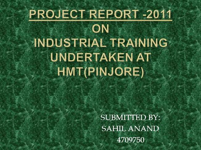 Project report on hmt ajmer