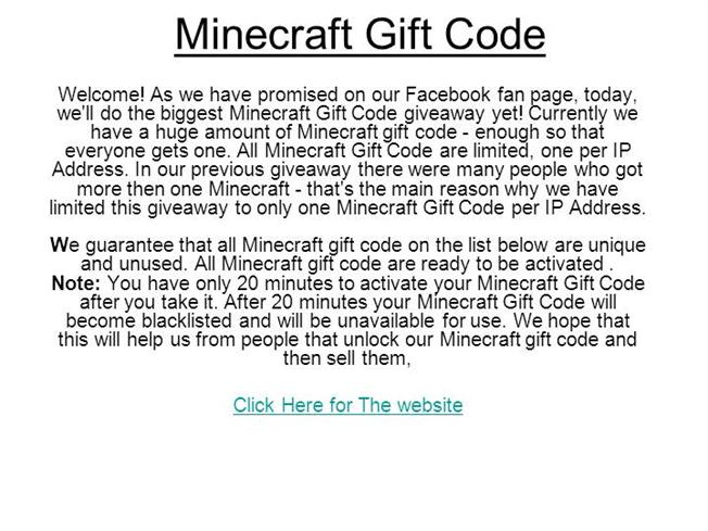 minecraft gift code giveaway no survey