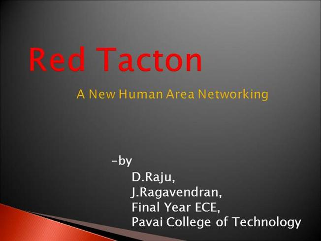 advanced communication through flesh redtacton ppt