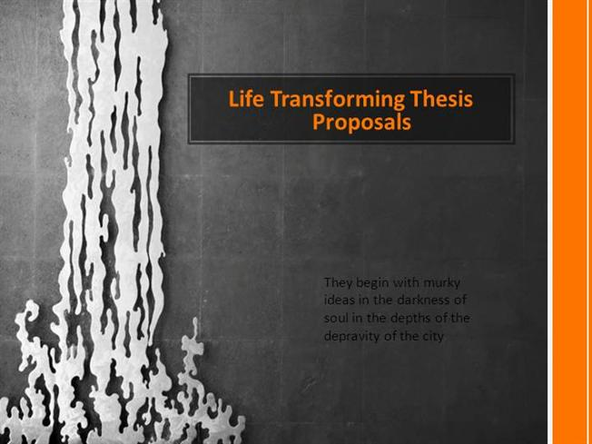 Writing the Thesis/Dissertation Proposal: Science, Technology