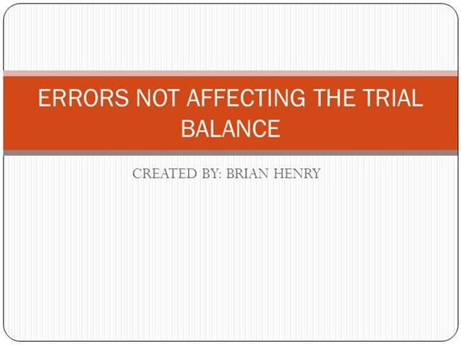 Trial balance and errors pdf