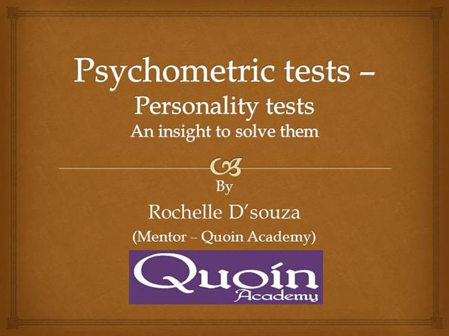 a psychometric test Take our free psychometric test samples to help you assess your current abilities and familiarise yourself with the format of a psychometric test – aptitude and.