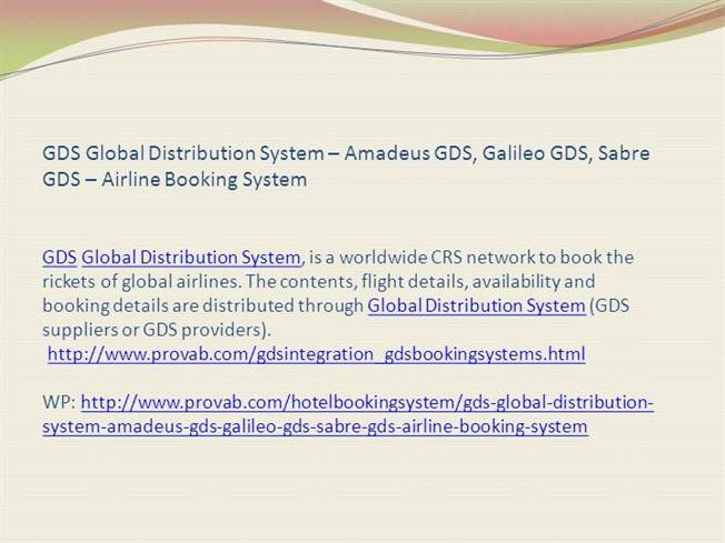 Gds global distribution system introduction