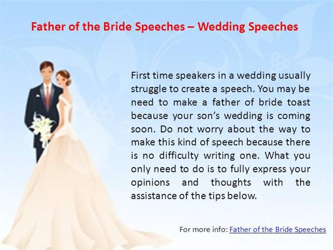 Father of the bride speeches wedding speeches authorstream for Father of the bride speech templates