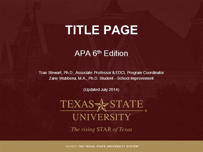 apa title page template 6th edition - module 2 title page apa style 6th ed authorstream