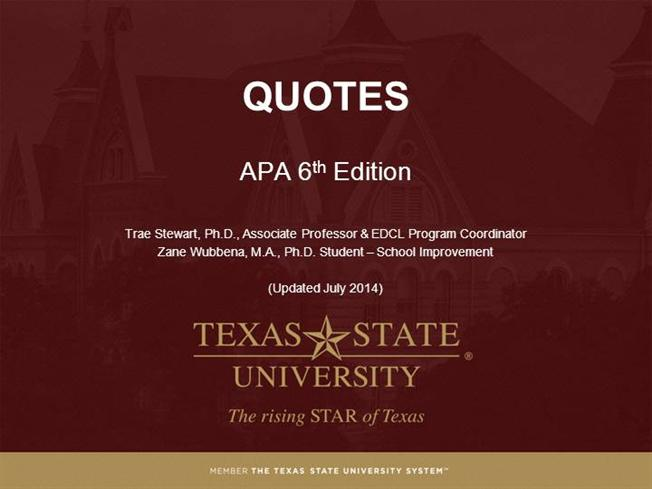 Module 7 - Quotes - APA 6Th Ed |authorSTREAM