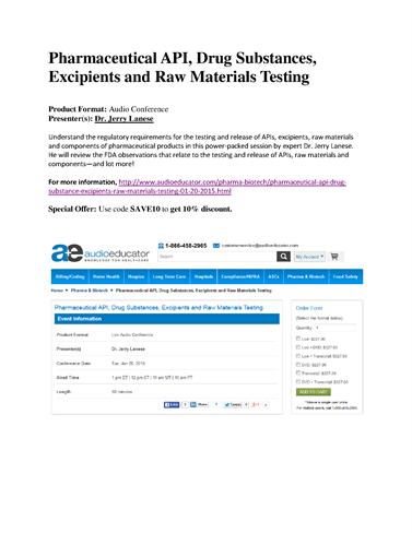 Pharmaceutical API, Raw Materials, Excipients Testing Rules