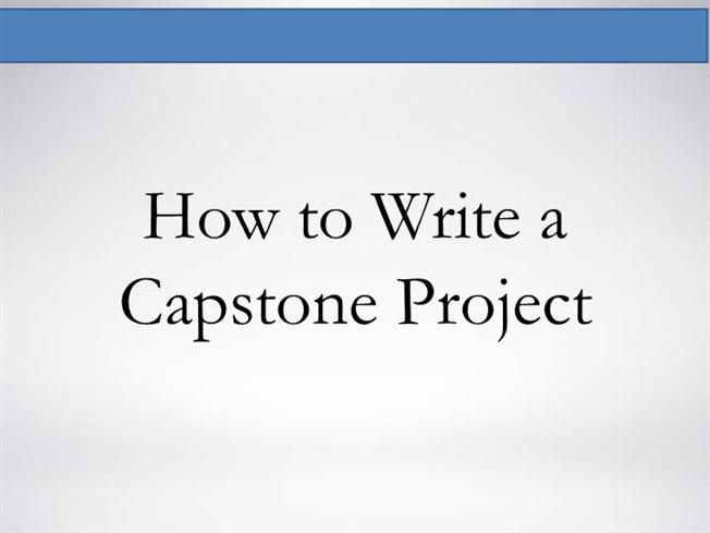 Capstone Project Writing Help