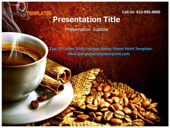 cup of coffee with espresso beans powerpoint template. Black Bedroom Furniture Sets. Home Design Ideas