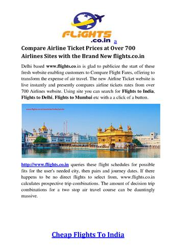 Compare Airline Ticket Prices at Over 700 Airlines ...