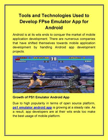 Tools And Technologies Used to Develop Fpse Emulator App for