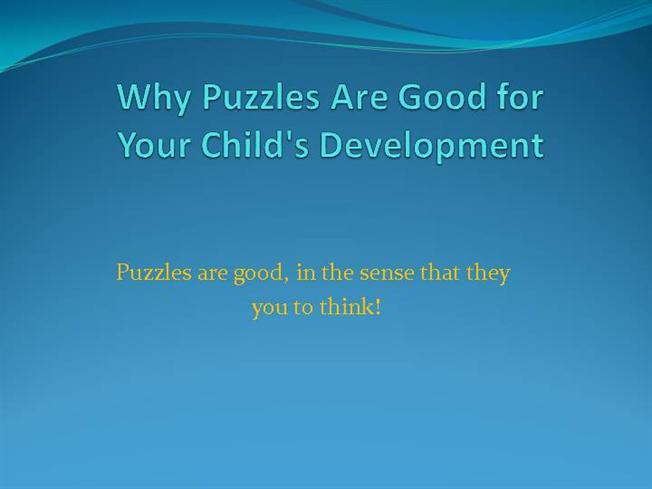 The benefits of puzzles on the development of a child