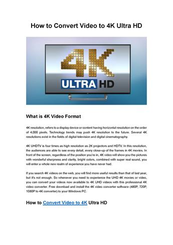 How to Convert Video to 4K Ultra HD |authorSTREAM