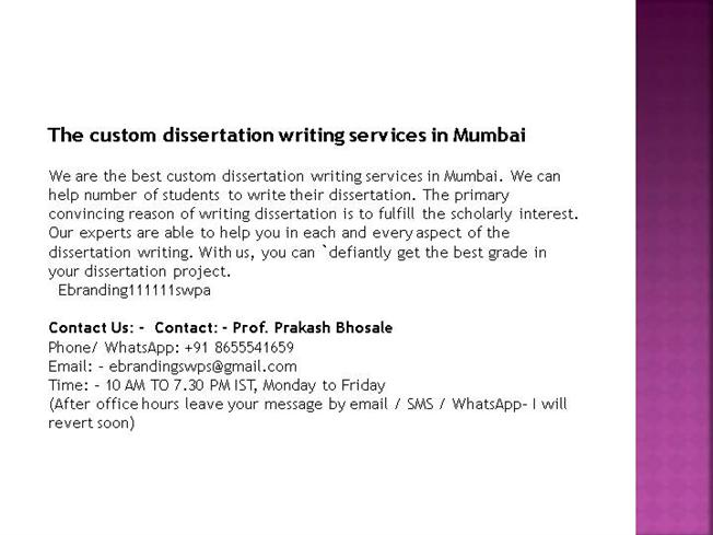 Dissertation writing services mumbai