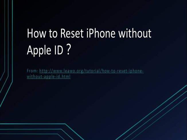 reset apple id on iphone how to reset iphone without apple id authorstream 8615