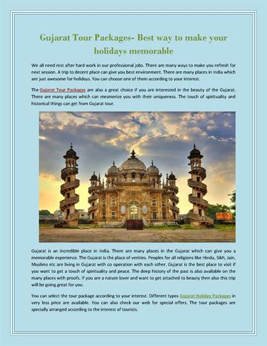 Gujarat Tour Packages- Best Way to Make Your Holidays