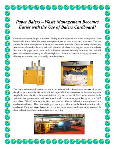 Paper Balers – Waste Management Becomes Easier With the Use of Bal