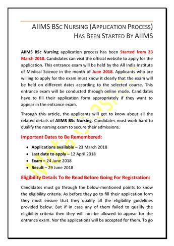 AIIMS Bsc Nursing (Application Process) Has Been Started by AIIMS