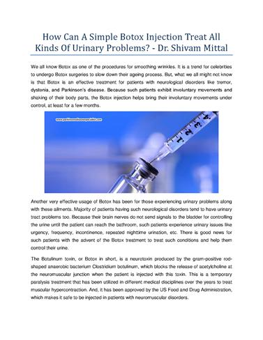 How Can a Simple Botox Injection Treat All Kinds of Urinary
