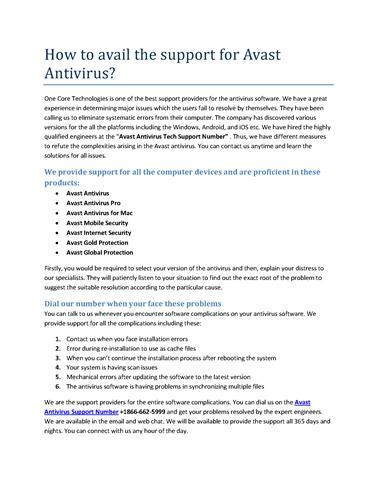 How to Avail the Support for Avast Antivirus (1) |authorSTREAM