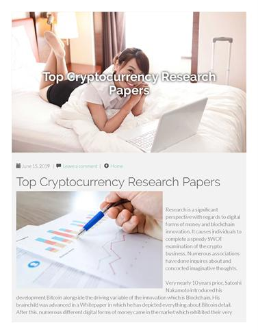 Research paper on cryptocurrency