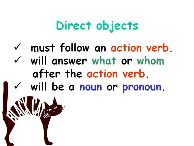 Direct and Indirect Objects   Part Of Speech   Noun  Direct And Indirect Object Chart