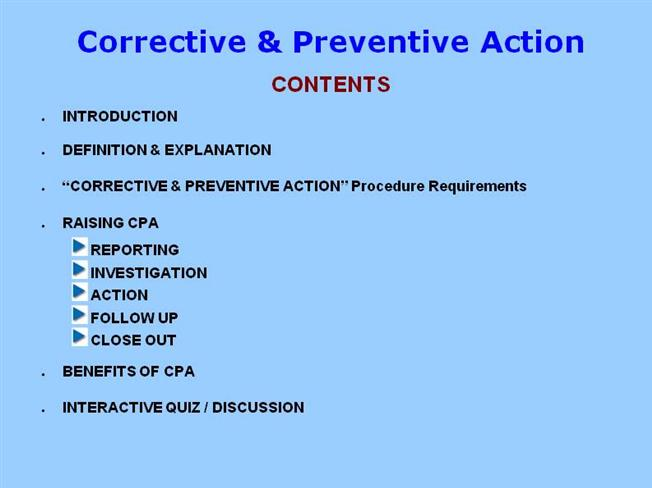 Corrective preventive action authorstream for Preventive action plan template