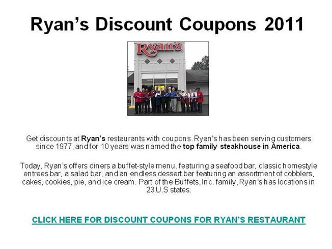 photograph about Ryans Printable Coupons identified as Ryans cafe coupon codes - Www eddiebauer outlet