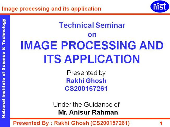 Image processing applications ppt to pdf