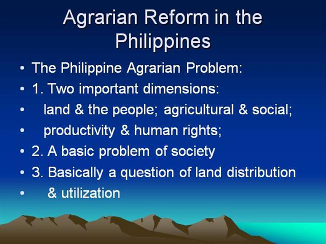 group report agrarian reform